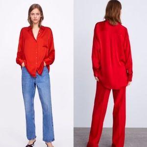 Zara Satin Shirt with Pocket Red XXL